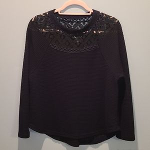NWOT Waffle Knit with lace neckline long top